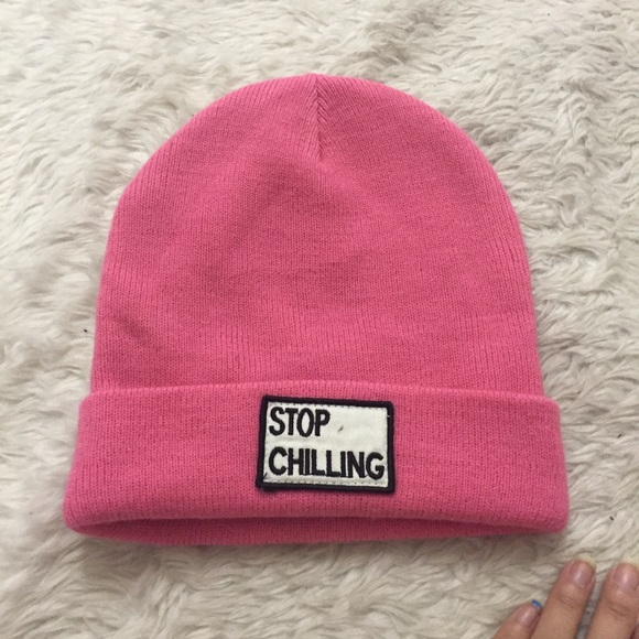 37d37ab4aa5 Zara stop chilling pink beanie. M 59e042848f0fc4ab67016310