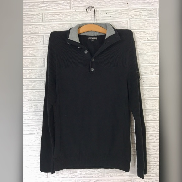 Express - {express} Mens Black Ribbed Sweater from ! penelope's ...