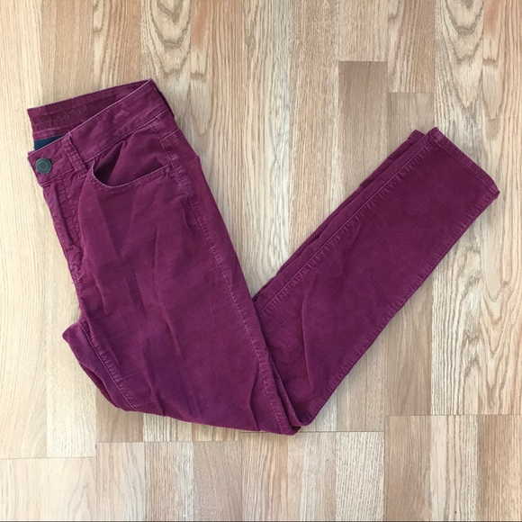 NWT AMERICAN EAGLE Stretch Hi-Rise Corduroy Jegging 10 X-LONG Cranberry or Gray