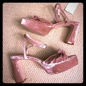 H&M pink velvet platforms