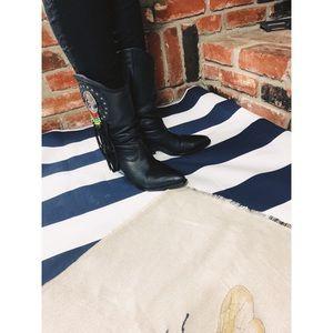 vintage Shoes - Vtg 80s RARE Beaded Tassel Ankle Cowboy Boots 7.5