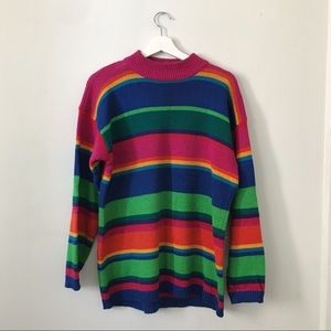 Vintage Sweaters - VINTAGE 90's Rainbow Striped Knit Sweater