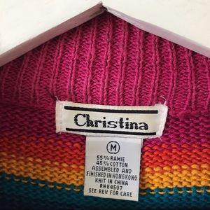 Vintage Sweaters - VINTAGE 90's Rainbow Striped Knit Sweater