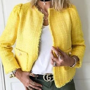 Jackets & Blazers - Zara Yellow Tweed Jacket