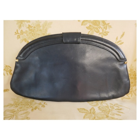 Vintage Bags - Navy Blue Vintage Leather Clutch