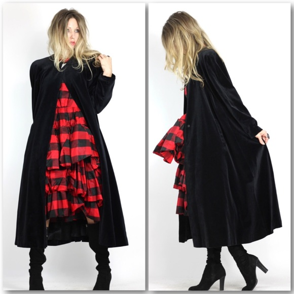 Vintage Jackets & Coats - Black Velveteen Opera Coat Swing Coat Cloak Duster