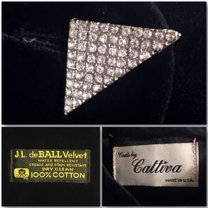 Vintage Jackets & Coats - Black Velveteen Opera Coat Swing Coat Cloak Duster
