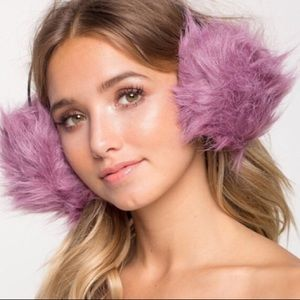 Plum fur ear muffs