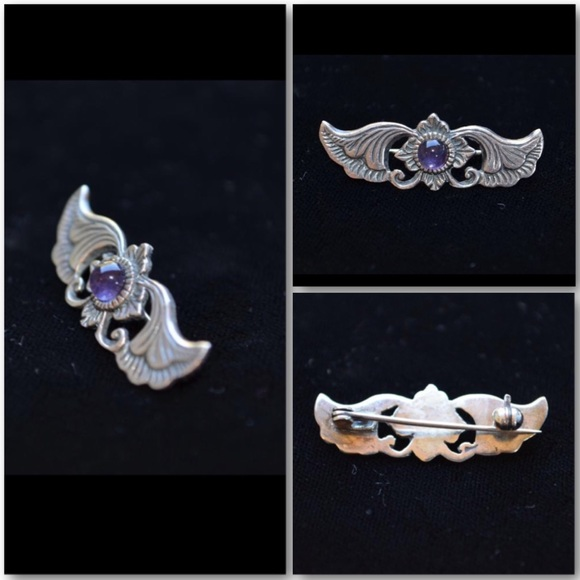 Vintage Jewelry - Revival Art Nouveau S Silver & Amethyst Pin Brooch