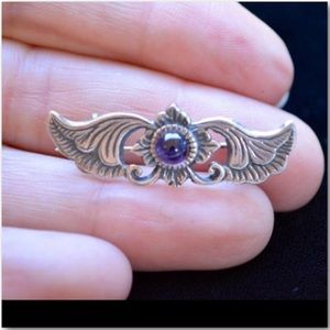 Vintage Jewelry - Revival Art Nouveau S Silver & Amethyst Pin Brooch