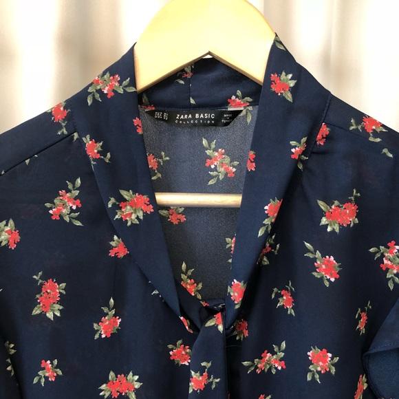 Zara Tops - ZARA Floral Tie Neck Blouse
