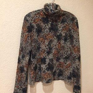 Tops - Donna Degnan lace sheer velvet zip back mock top