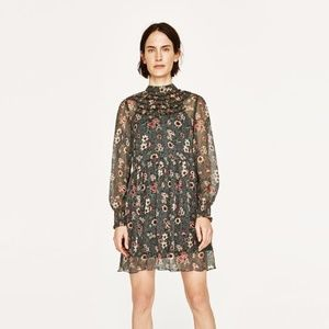 Zara Dress with Chest Frills Floral