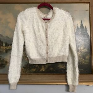 Fuzzy White and Gold Lurex Cardigan