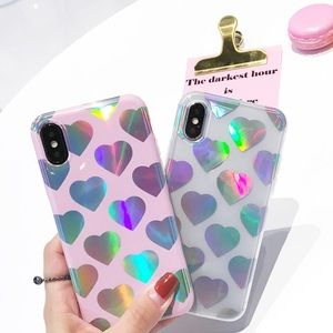 Accessories - Holographic Laser Hearts Clear IPhone 7 7+ Cases