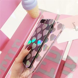 Accessories - Holographic Laser Hearts Clear IPhone 7 7+ Case 💜