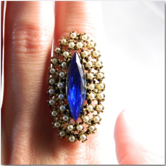 Vintage Jewelry - Blue Glass & Seed Pearl Adjustable Gold Tone Ring