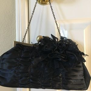 Handbags - Evening black satin purse