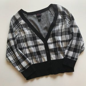 Torrid Checkered Knit Cardigan Sweater 3/4 Sleeve
