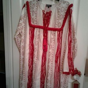 NWT Anthropology Red and Cream Dress