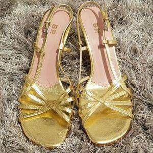 BP gold strappy kitten heels