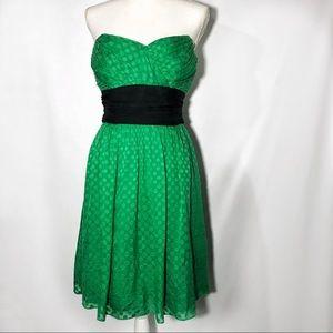SHOSHANNA SILK GREEN AND BLACK DRESS 10 M