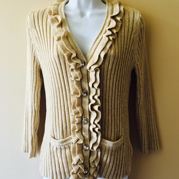 Ruby Rd Sweaters Womens Gold Cardigan Sweater Ruffle Jewel Button