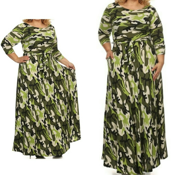 Plus Size Army Fatigue Maxi Dress w Pockets Boutique