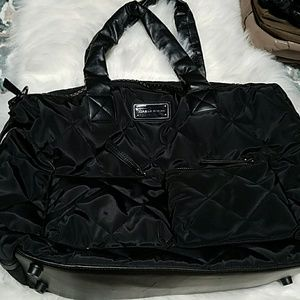 Adrienne Vittadini Black Quilted Overnight Bag