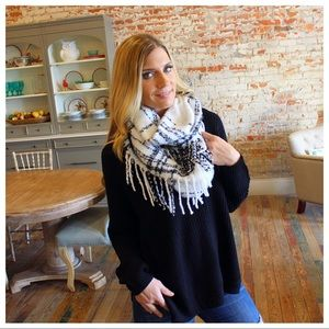Accessories - White and black cross stitch fringe infinity scarf