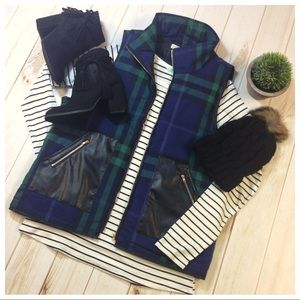 Navy/Green Plaid Vest with Vegan Leather pockets