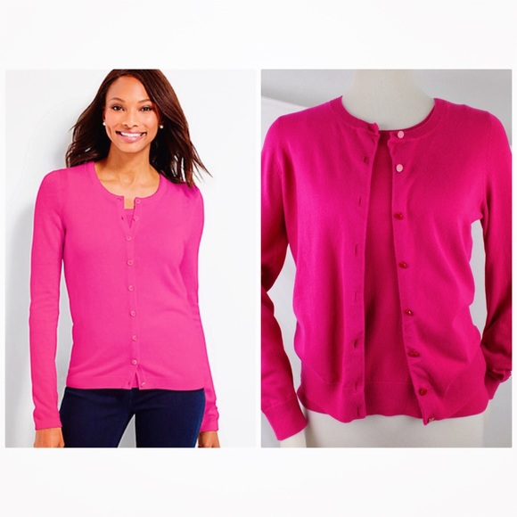 49% off Talbots Sweaters - Talbots Charming Cardigan Hot Pink ...