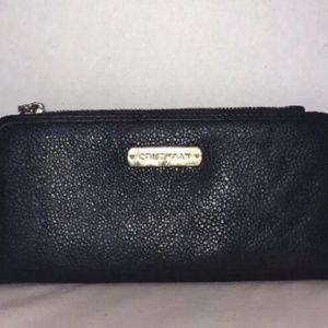COLE HAAN Womens Black Leather Zip Top Wallet