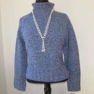 AE Chunky Blue Heather Wool Sweater Large