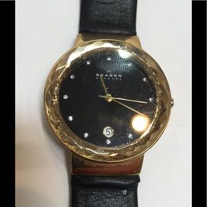 Jewelry - Black leather ladies Skagen watch