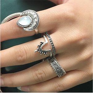 Jewelry - Boho Retro Silver Opal Midi Rings Set - 4 Pc