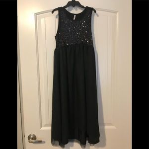 Girls large black sequined dress