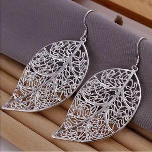 Jewelry - Silver Oversized Filigree Large Leaf Wire Earrings