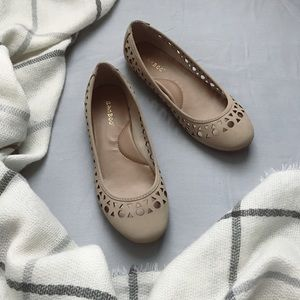NWOT Bamboo Nude closed toe Flats with Cut outs