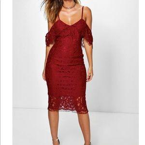 Lace Open Shoulder Midi Dress
