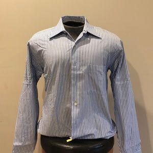 BCBG Attitude Blue Striped Button Down Sz M