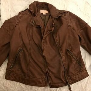 Brown pleather jacket size small - target