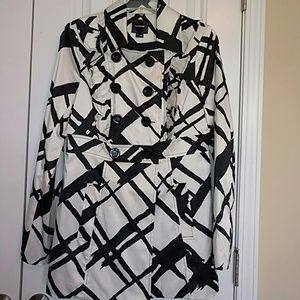Black and White Jacket with Ruffle Detail