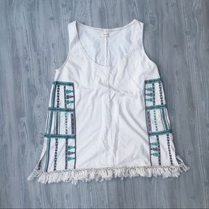 Madewell embroided fringy tank