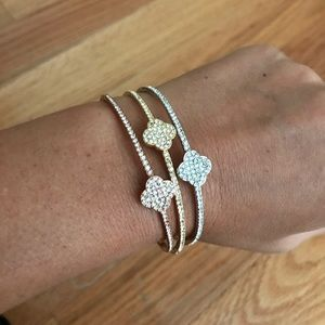 Jewelry - Tri color cz pave Clover bangle bracelets