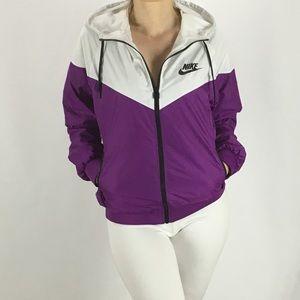 Nike Jackets   Coats - NIKE Windrunner Jacket White Purple Large Women s c3e201057