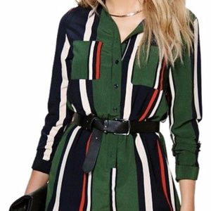 Striped Shirt Style Romper One Piece