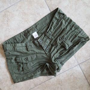 Olive cargo shorts