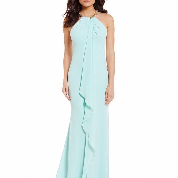 Calvin Klein Dresses Beadedneck Draped Ruffle Front Gown Poshmark