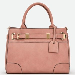 Mauve Vegan Leather Satchel Gold Hardware Handbag